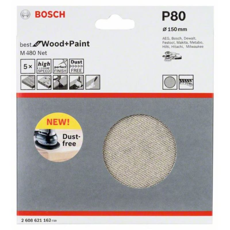Schleifblatt M480 Net. Best for Wood and Paint. 150 mm. 80. 5er-Pack