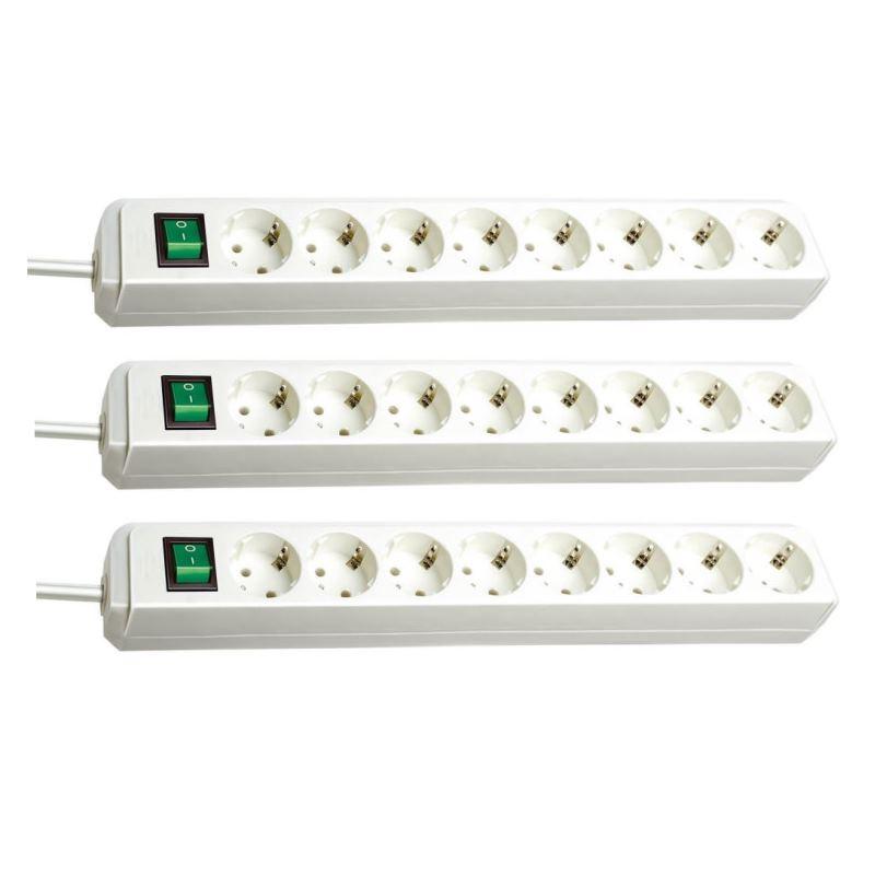 Eco-Line Steckdosenleiste mit Schalter 8-fach weißVPE: 3 Stück