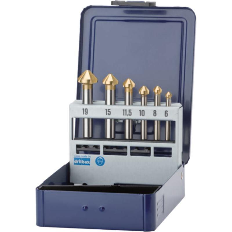 Kegelsenker in Metallkassette 6 -19 HSS-TiN DIN 335C 90 Grad