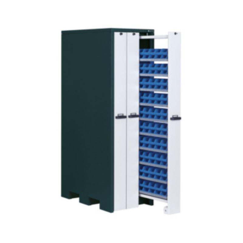 Vertikalschrank HxBxT 2140x660x1050 mm mit 30 Lagerwannen RAL 7016/9002