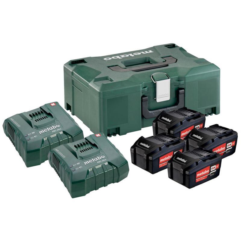 18V Ersatzakku 4 x 5,2Ah + 2x Ladegerät ASC Ultra Basic-Set in Metaloc