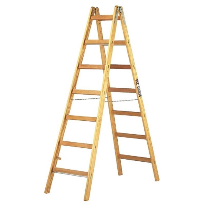Holz-Stehleiter 2x7 Sprossen Höhe Stehleiter 1.84m