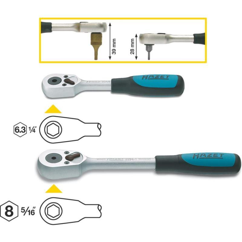 Bit-Umschaltknarre 2264 · Sechskant hohl 6,3 (1/4 Zoll) · l: 115 mm