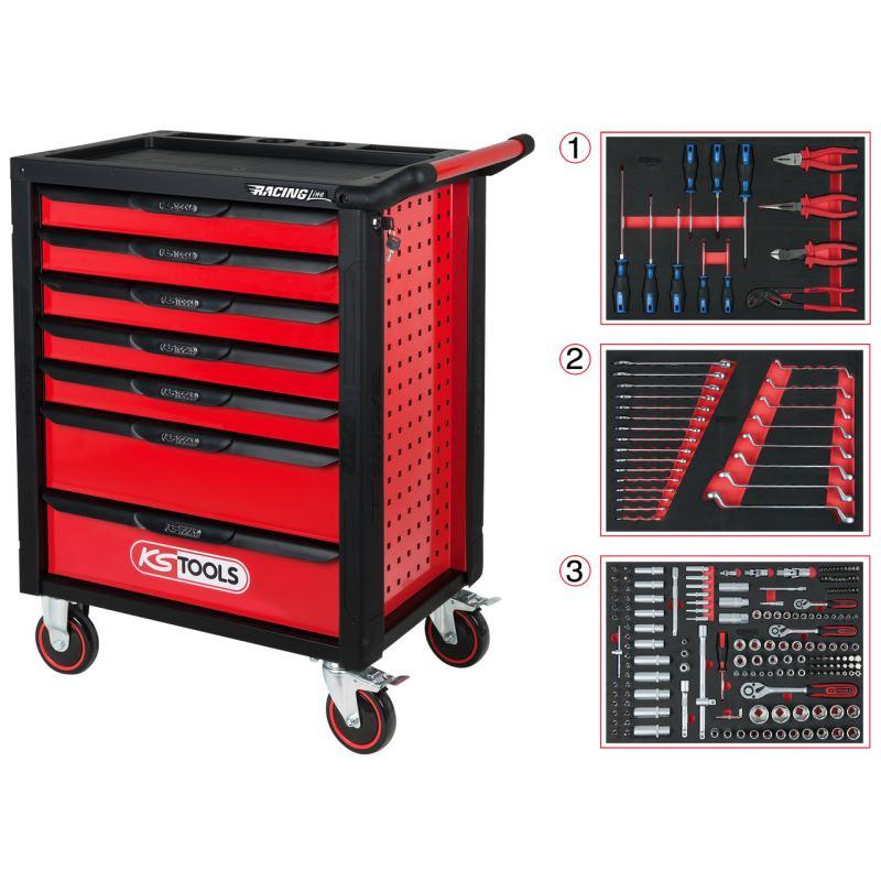 RACINGline SCHWARZ/ROT Werkstattwagen mit 7 Schubladen und 215 Premium-Werkzeugen