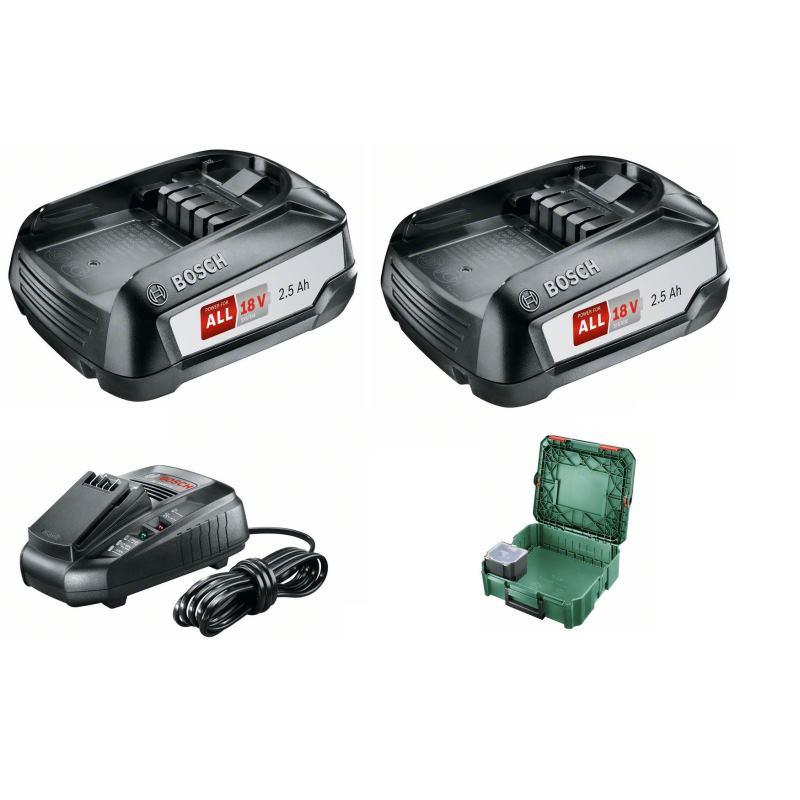 18V Batterie-Set Starter Set 2x Akku + Ladegerät + Systmbox