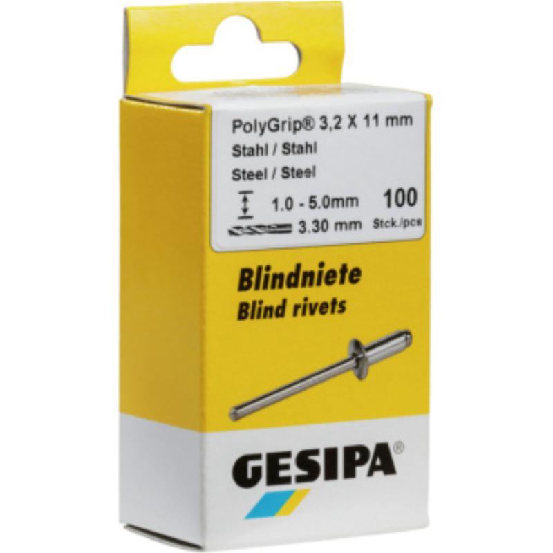 Blindniete Stahl/Stahl 4x12 mm Mini-Pack mit 100 Stück