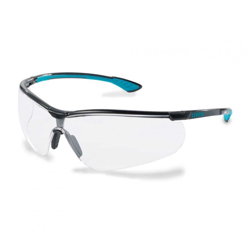 Schutzbügelbrille sportstyle schw/blau farblos
